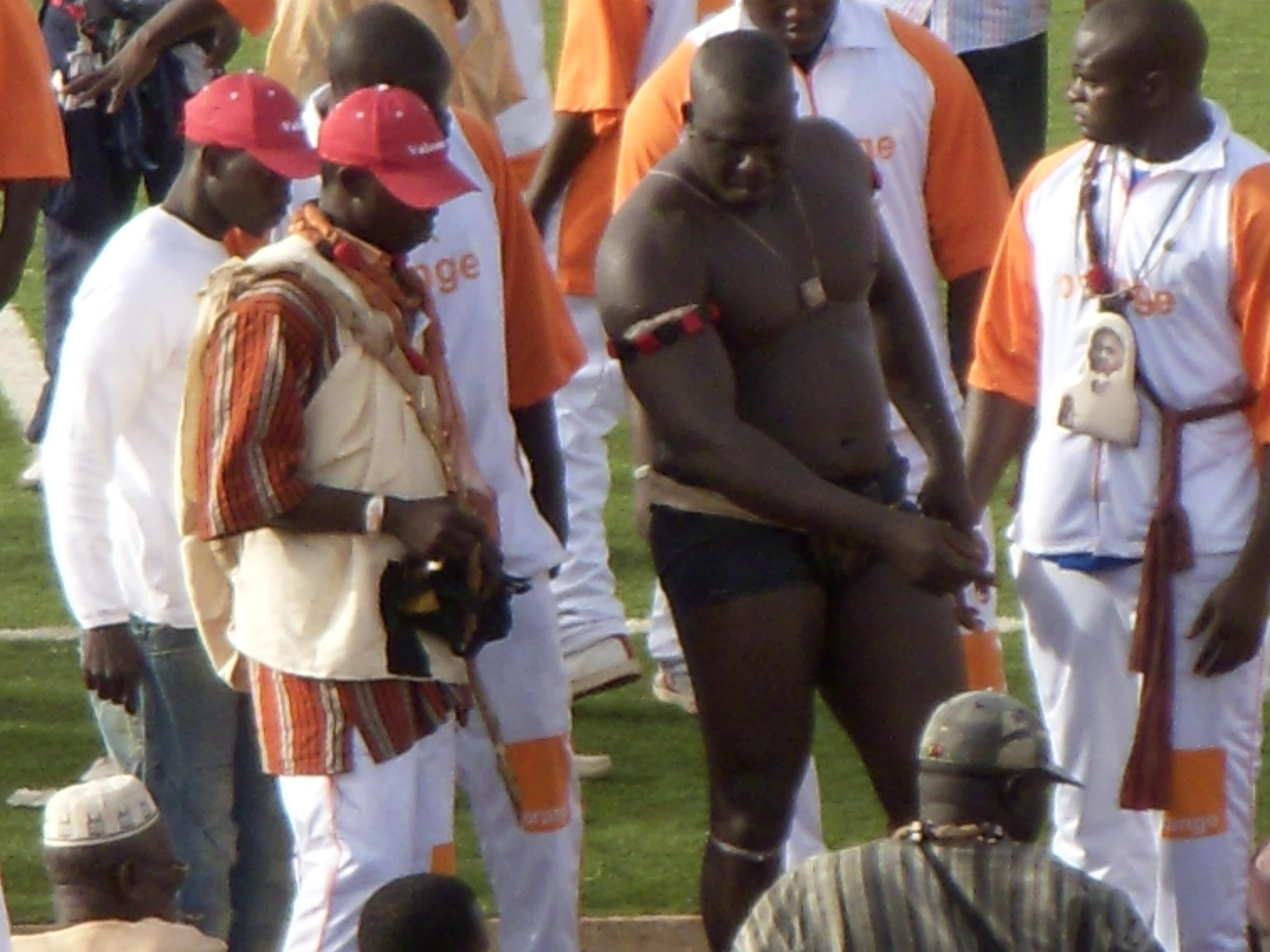 Champion wrestler Yékini (Yakhya Diop) at the Stade Demba Diop in Dakar, Senegal. Photo taken on June 10, 2006.
