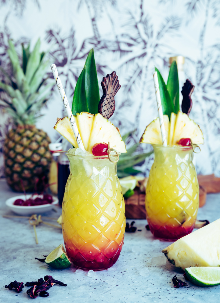 Maui Sunset Cocktail (Pineapple Hibiscus Vodka Cocktail) www.pineappleandcoconut.com #PAUMauiVodka #Earthday #sipresponsibly #noplastic #stopsucking #sipdontsuck #sponsored @paumauivodkaset Cocktail-157