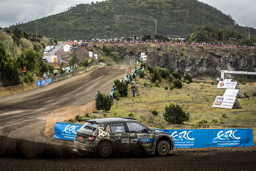 17 AHLIN Fredrik (swe), SJOBERG Joakim (swe), SKODA FABIA R5, action during the 2018 European Rally Championship ERC Azores rally,  from March 22 to 24, at Ponta Delgada Portugal - Photo Gregory Lenormand / DPPI