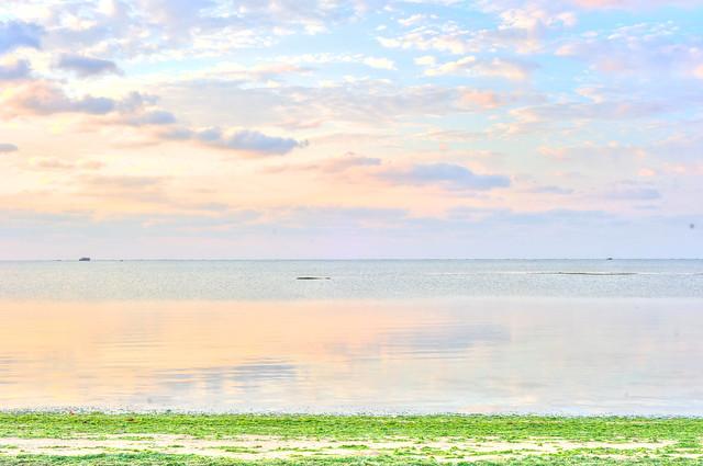 鏡のような海でした