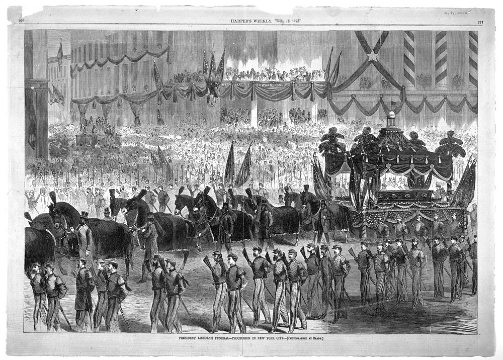 President Lincoln's funeral procession in New York City. Photographed by Matthew Brady. Print published in Harper's Weekly on May 13, 1865.