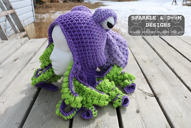 HAT Octopus Hat Purple lime c