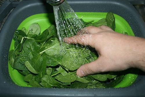 07 - Spinat waschen / Wash spinach