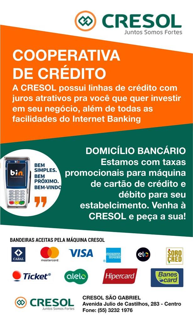 Venha até a Cresol para conhecer o nosso crédito e as facilidades da máquina de cartões