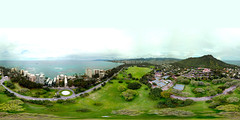 Kapiolani Park in Waikiki from my Mavic Pro hovering at 373 feet - an aerial 360 Equirectangular VR
