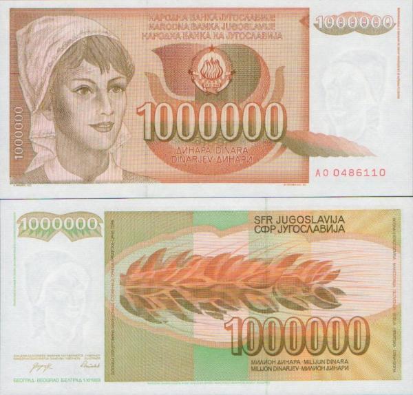 1 000 000 Dinárov Juhoslávia 1989, P99