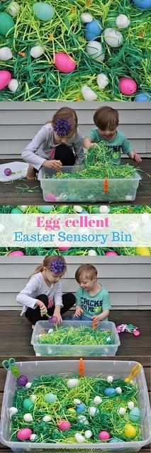 Egg-cellent Easter Sensory Bin #Easter #sensoryplay #sensorybin #activitiesforkids #kidsactivities #therapyideas
