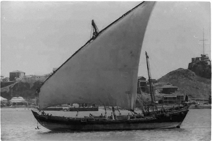 A Sambuck type of dhow in the Gulf of Aden, circa 1936.