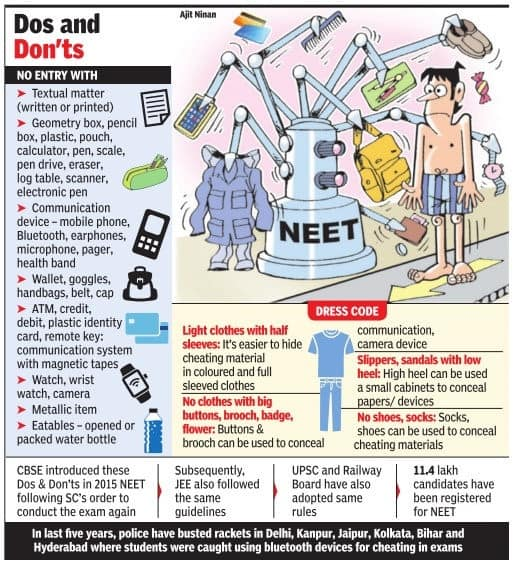 NEET Do's and Don'ts and barred items