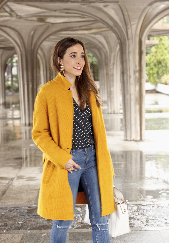 mustard coat polka dots shirt leopard heels white bag outfit 09
