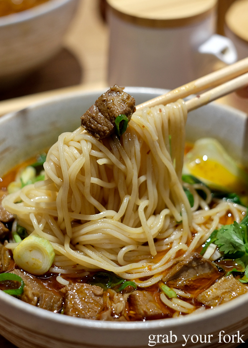 Chongqing spicy noodle with stewed beef at Mr Meng Chongqing Gourmet in Market City Chinatown Sydney