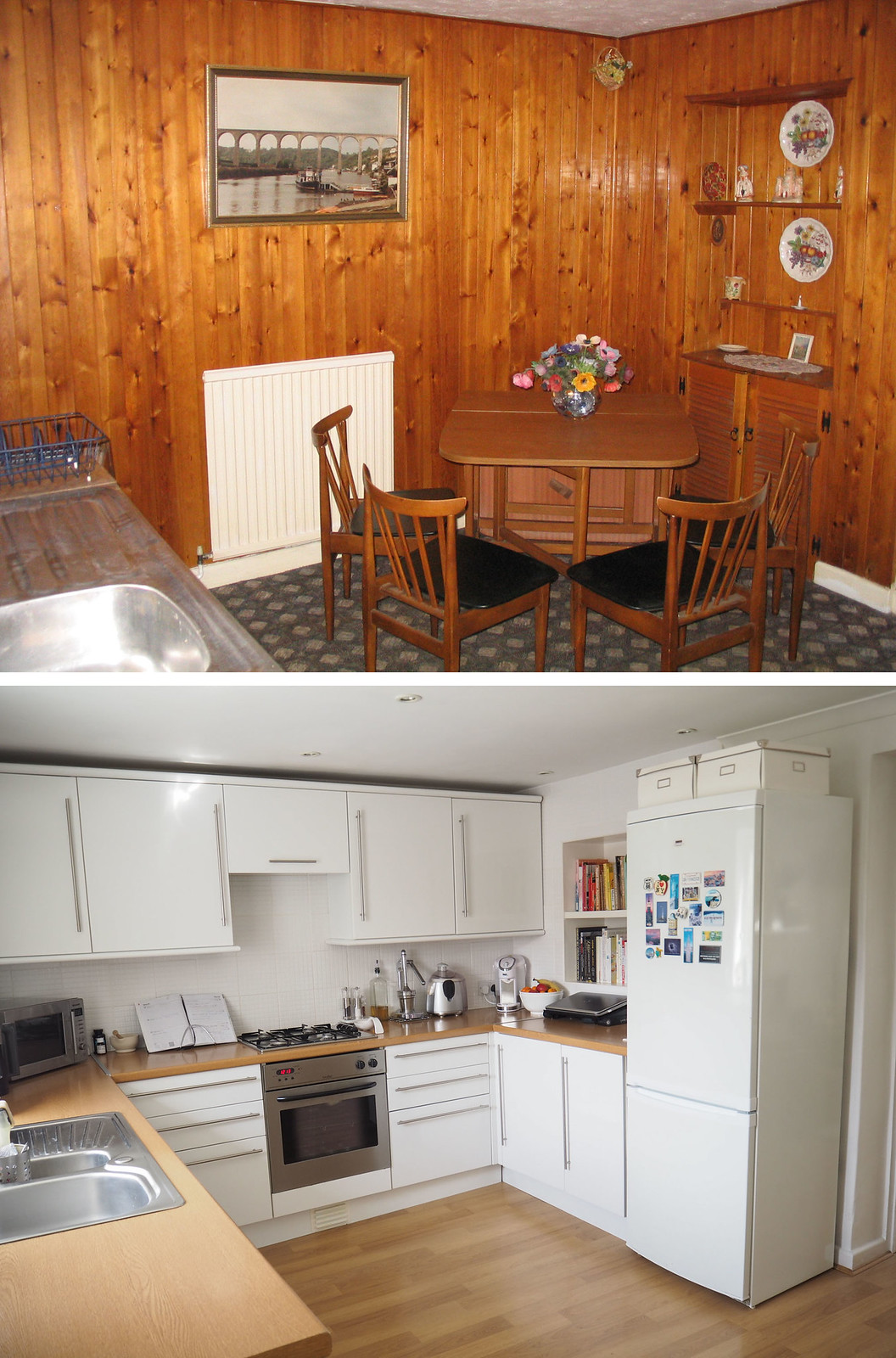 Kitchen makeover before and after - White gloss doors with oak flooring and worktops \ fresh modern kitchen \ interior | Not Dressed As Lamb blog
