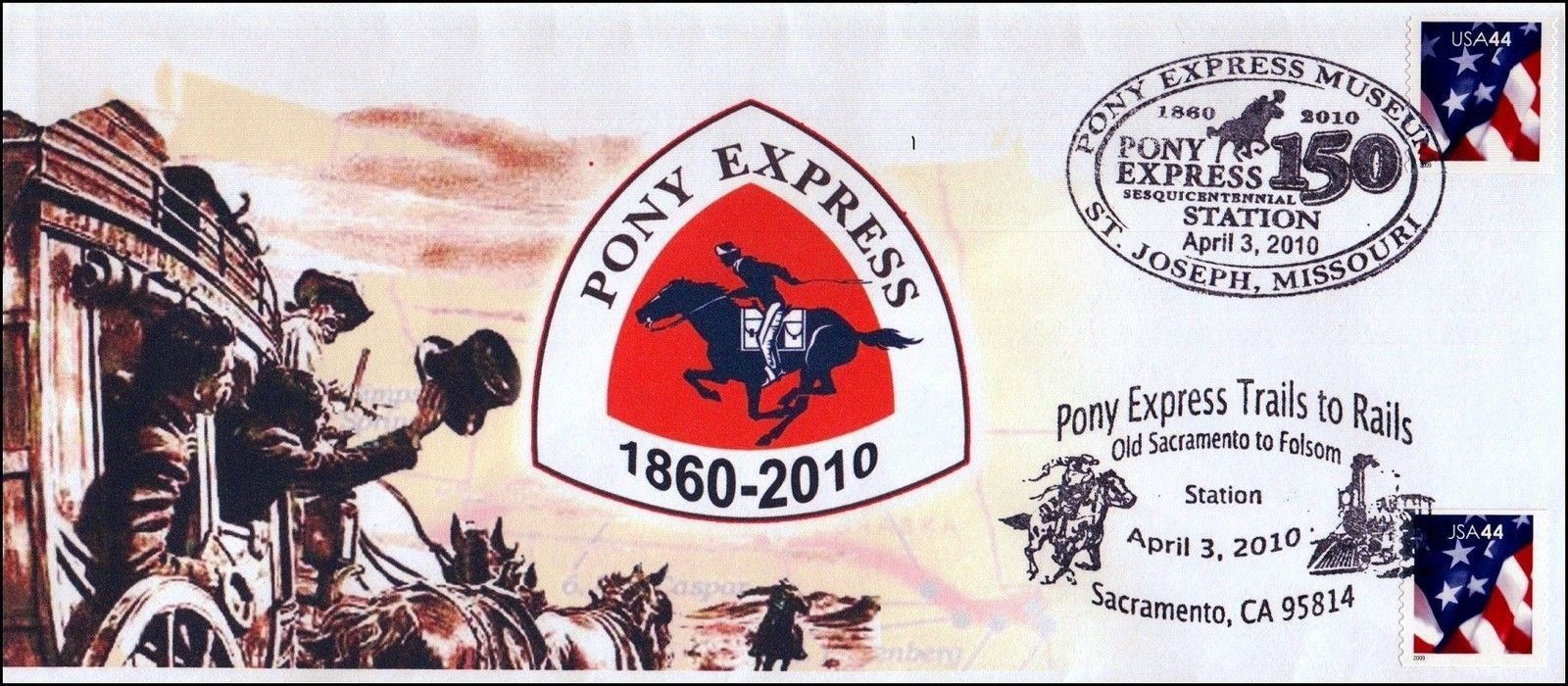 Philatelic cover marking the 150th anniversary of the Pony Express with St. Joseph, Missouri, and Sacramento, California, pictorial cancellations.