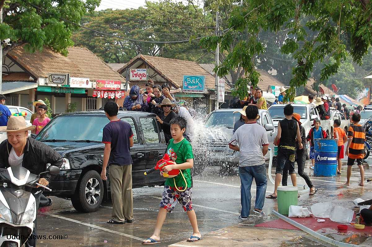 Songkran Festival in Thailand. Photo taken on April 13, 2005