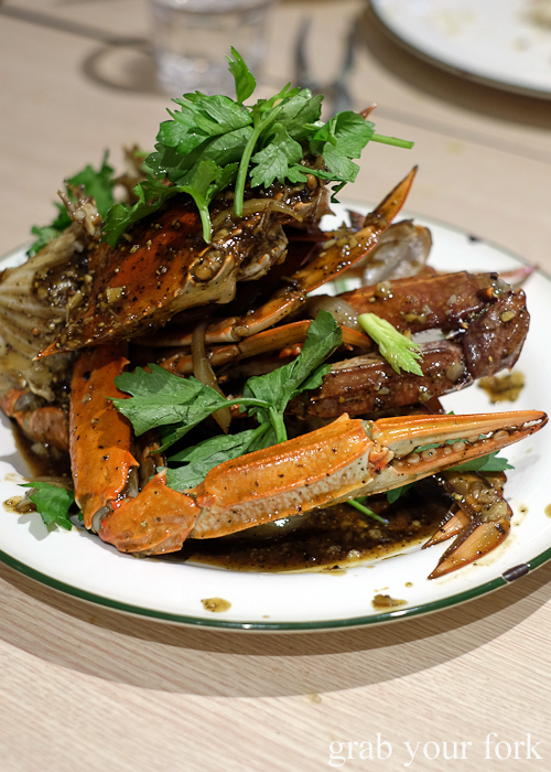 Black pepper crab at the all-you-can-eat crab festival at Yok Sod Thai at Mr B's in Haymarket Sydney