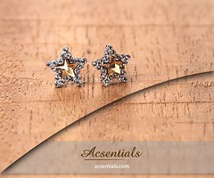 Star Shaped Stud Earrings made with Elements from Swarovski