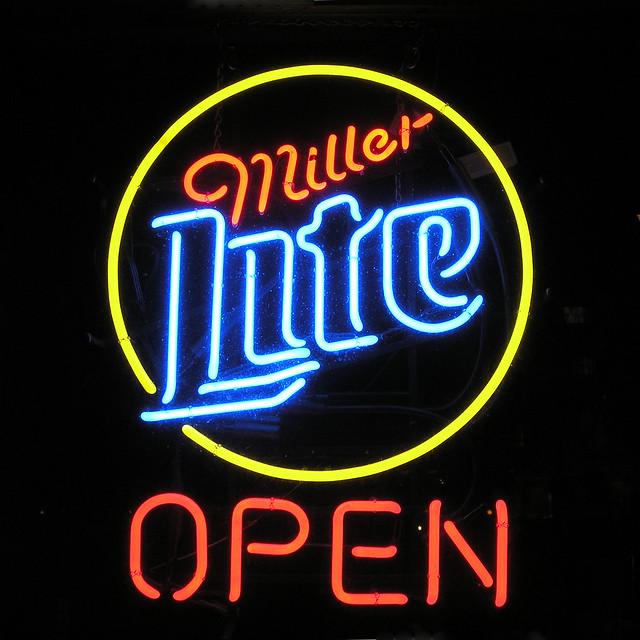 neon sign miller lite open flickr photo sharing. Black Bedroom Furniture Sets. Home Design Ideas
