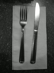 fork(1.0), tableware(1.0), monochrome photography(1.0), silver(1.0), cutlery(1.0), monochrome(1.0), black-and-white(1.0),