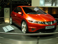 family car(0.0), sedan(0.0), automobile(1.0), automotive exterior(1.0), wheel(1.0), vehicle(1.0), automotive design(1.0), rim(1.0), auto show(1.0), honda(1.0), honda civic type r(1.0), bumper(1.0), land vehicle(1.0),