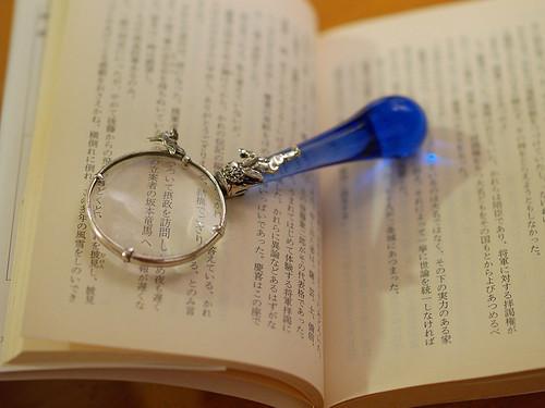 Lupe über Buch