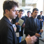 Sergey Brin and Larry Page talking to reporters
