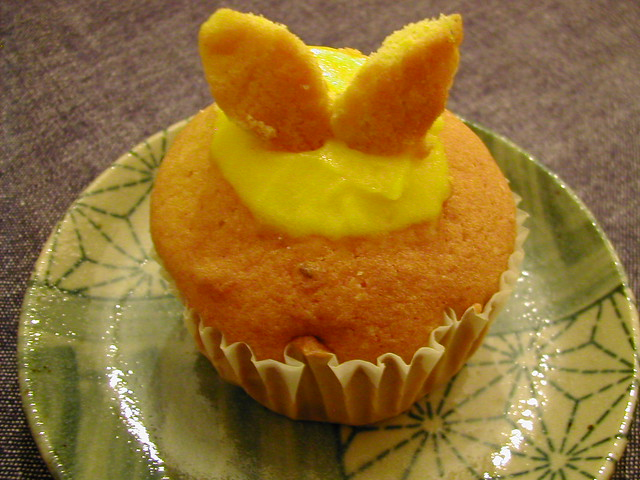 Bunny cupcake 1 | Mango sorbet in cupcake cavity. | By: framboise ...