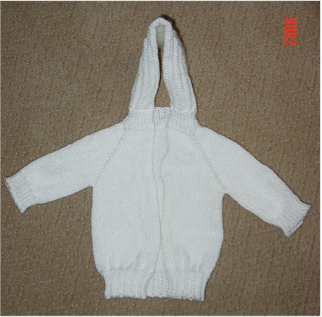 Zip Up Back Hooded Baby Sweater Pattern 119