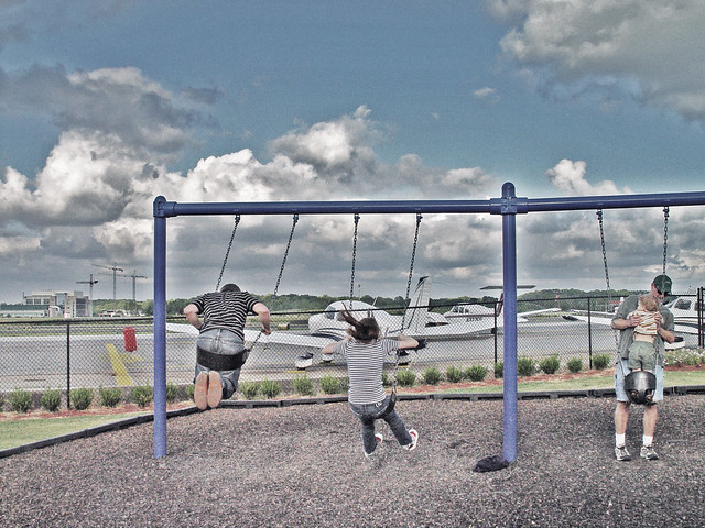 Couple swinging at Dekalb Air Field