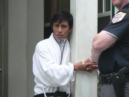 Edgar Prado outside the jockeys room at Saratoga