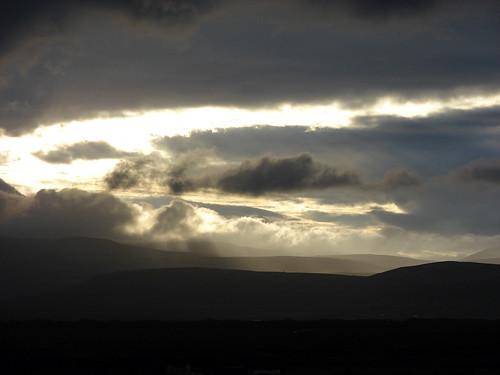 sunset clouds iceland kerið