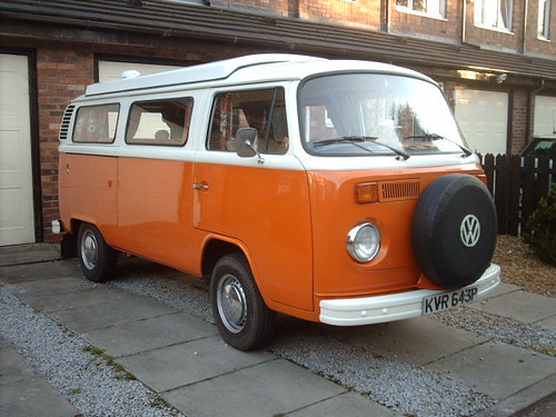 1975 orange VW campervan