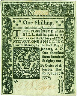 Connecticut one shilling note 1776-6-7 front