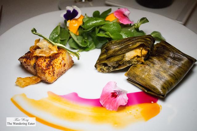 Ajochile sea bass with hoja santa tamale with fresh purslane salad