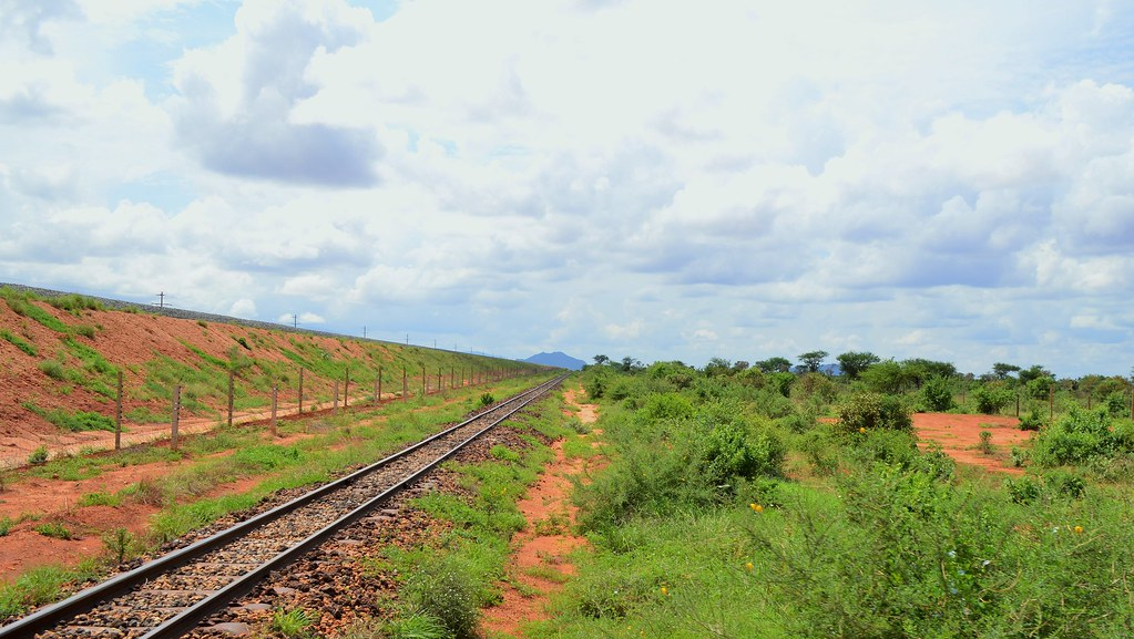 New and old railway lines near Tsavo East NP