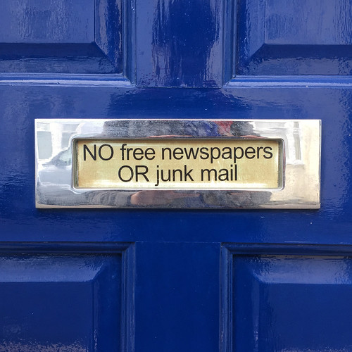 NO free newspapers OR junk mail