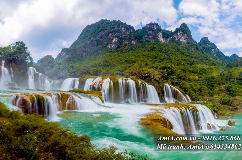 Tranh phong cảnh đẹp thác nước thiên nhiên hợp phong thủy