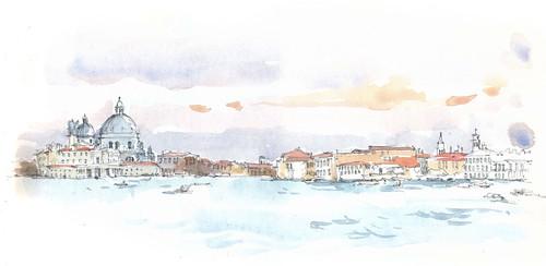 Venezia, Santa Maria della Salute en Canal Grande vanop de Riva Cà di Dio, Italia