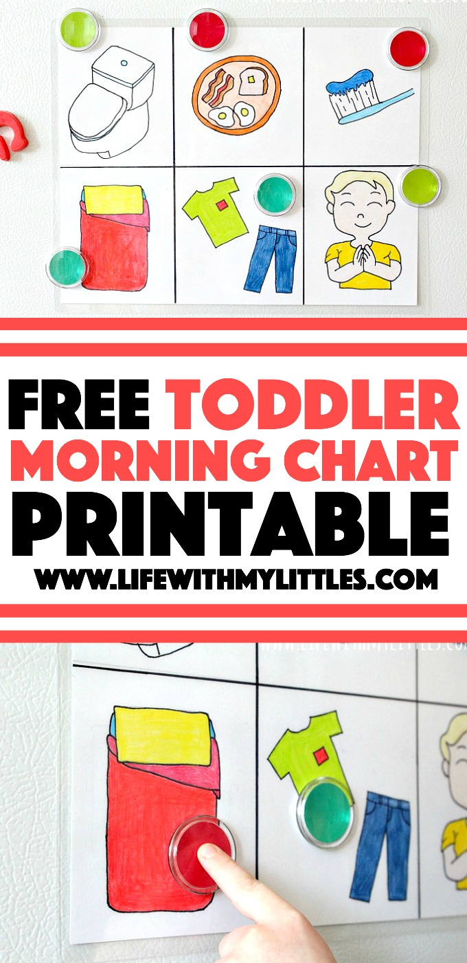 This free printable toddler morning chart is the perfect way to help your toddler get ready for the day! Three different downloadable versions and you can customize it with your own colors! This is such a great way to encourage independence and end morning tantrums!