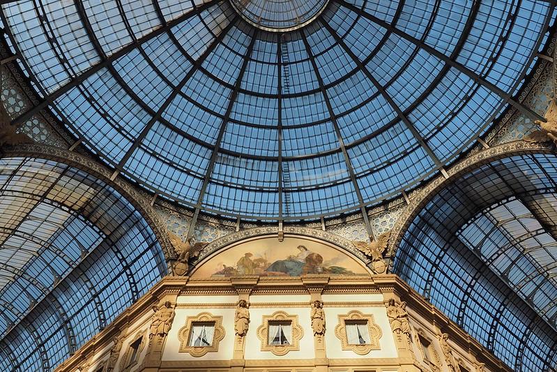 Golden hour in the Galleria Vittorio Emmanuele II in Milan