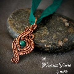 Emerald Isle - Green Onyx and Woven Copper Wire Necklace