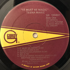 TEENA MARIE:IT MUST BE MAGIC(LABEL SIDE-A)