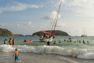 "Yacht ""Nicolette One"" was thrown ashore on the Nai Harn beach Phuket 