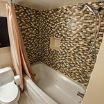 Tiled shower with jetted tub