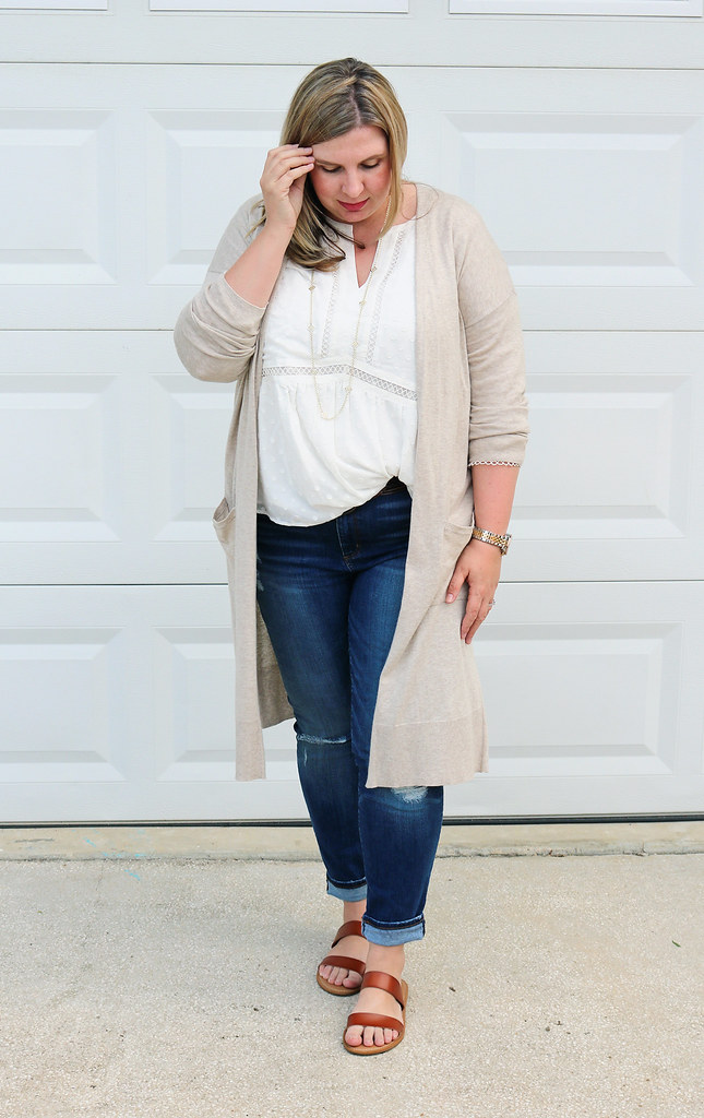 white peasant top, long tan cardigan, distressed jeans, double strap sandals 5