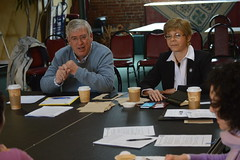 Reps. Storms and Zawistowski speak with constituents at a coffee hour in Windsor