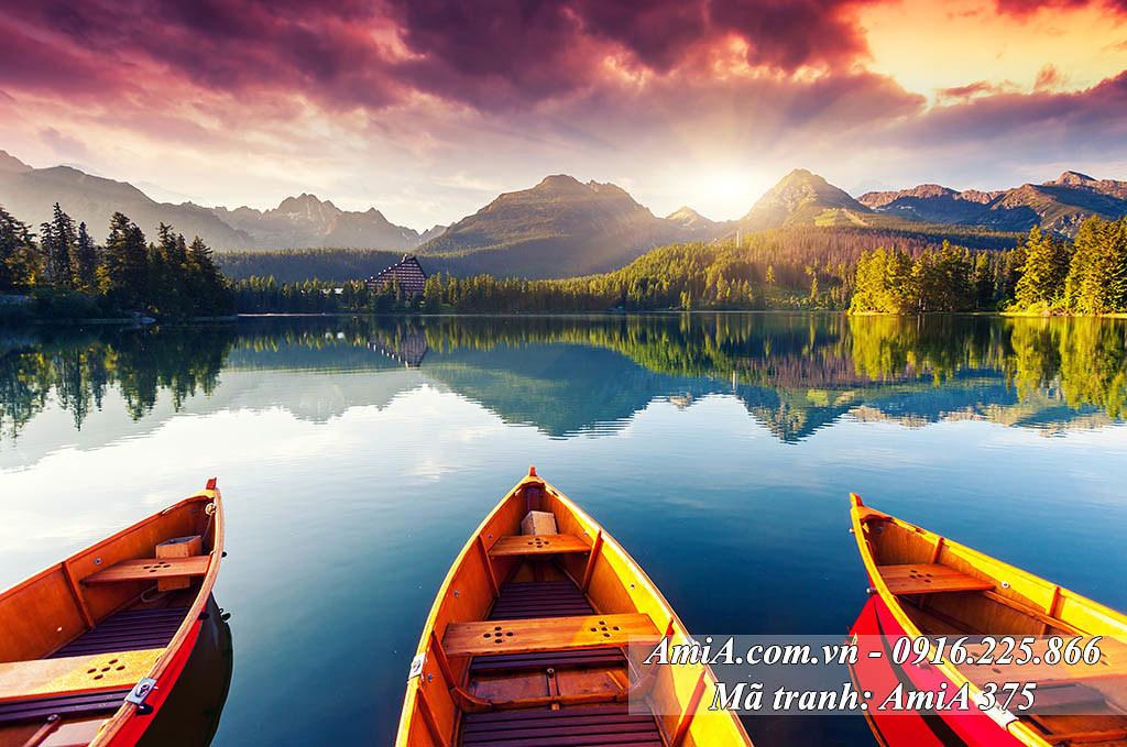AmiA 375 - Tranh bến đò trên sông quê phong cảnh đẹp quê hương Việt Nam
