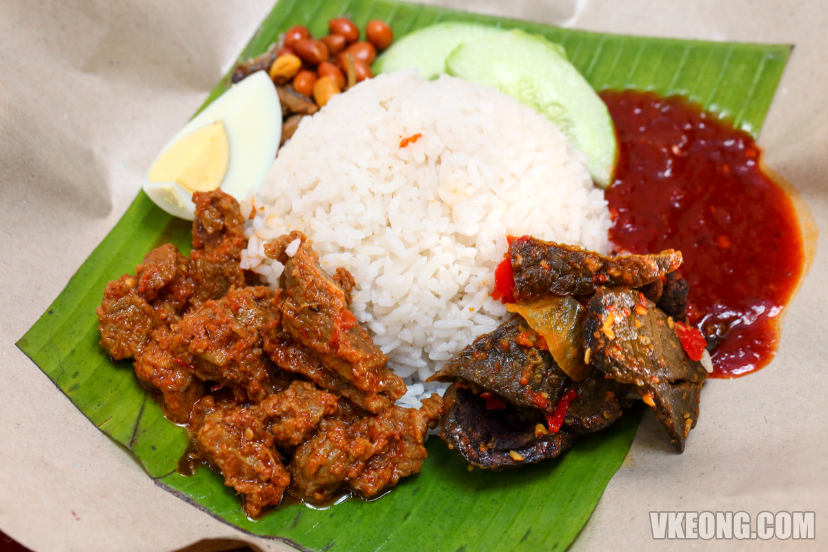 Nasi Lemak Kukus Rendang Daging Sambal Paru