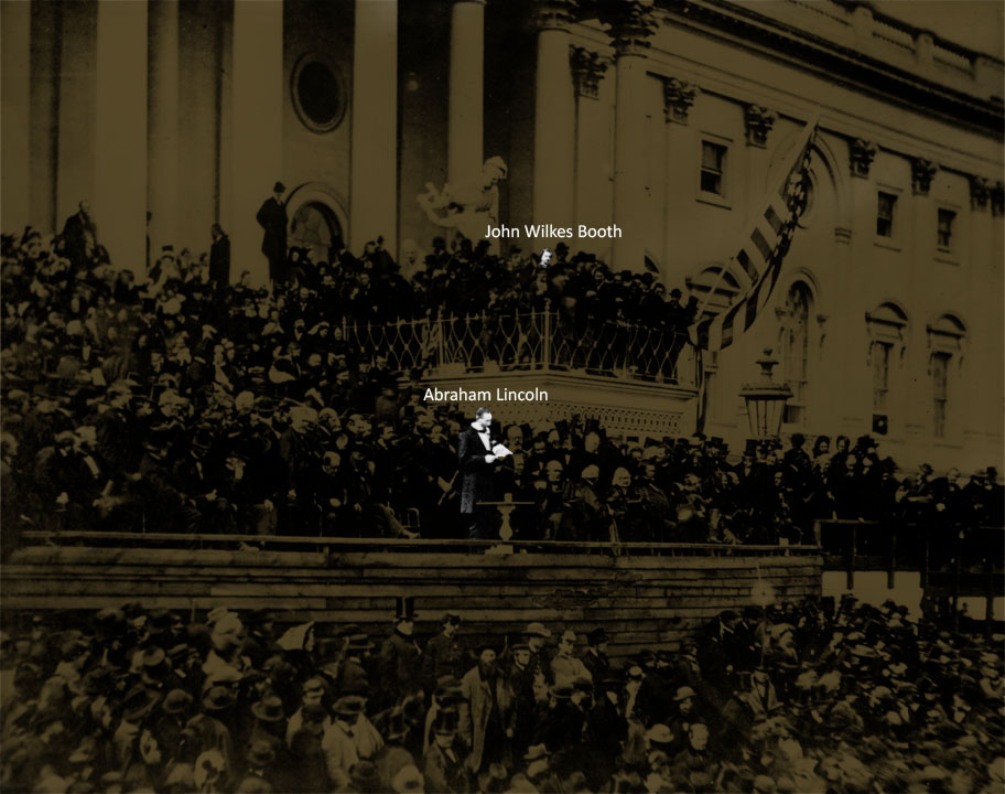 John Wilkes Booth was present as Abraham Lincoln delivered his second inaugural address on March 4, 1865, a month before the assassination.