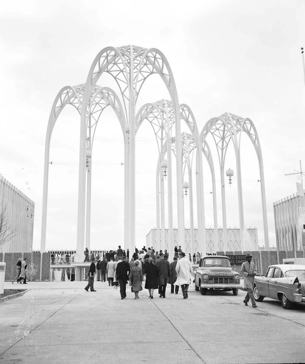 United States Science Pavilion (later Pacific Science Center) at Century 21 Exposition, Seattle, Washington. Photo taken on April 20, 1962.
