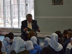 Rep. Storms reads to grade school classes at Madina Academy